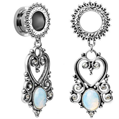 Heart Opalite Stainless Steel dangle screw back ear plugs
