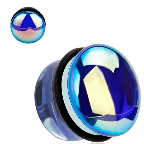 Blue mirror glass Single flare o ring back Ear Plugs
