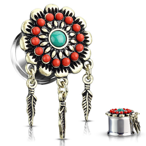 Dangle red  Tribal Flower Turquoise Center  316L Surgical Steel Double Flared Tunnel Plugs