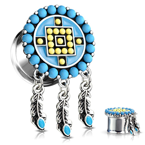 Dangle Aztec Turquoise Paved Circle  dream catcher Top Double Flared Tunnels