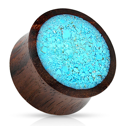 Crushed Turquoise Organic Wood double Saddle Fit Plug