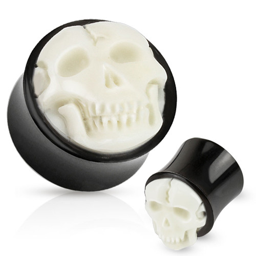 bleach white Bone Skull Hand Carved Inlay with Organic Horn Saddle Plug