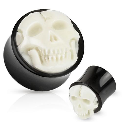 bleach white Bone Skull Hand Carved Inlay with Organic Horn Saddle Plug