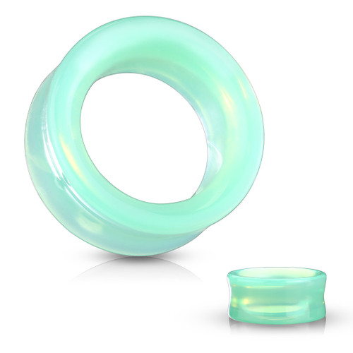 Green Opalite Glass Double Flared Saddle Tunnel