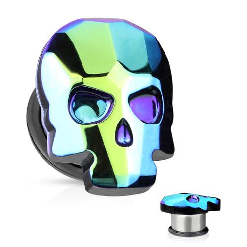 Black Aurora Borealis skull Single flare Steel o ring back Ear Plugs