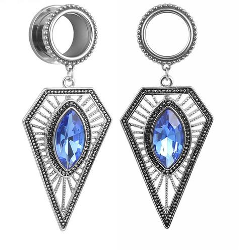 Sapphire Diamond Kite Dangle royal blue gem stainless steel screw back ear plugs