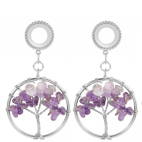 Dangle Purple Amethyst tree of life stainless steel screw back ear plugs