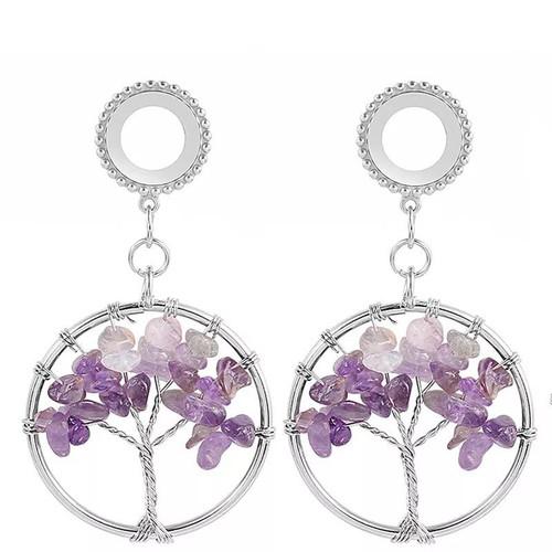 Dangle Purple Amethyst tree of life stainless steel screw back ear plugs