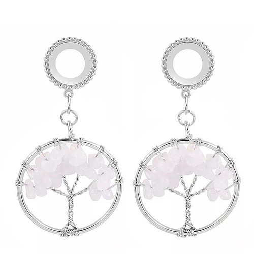 Dangle Rose Quartz  tree of life  stainless steel screw back ear plugs