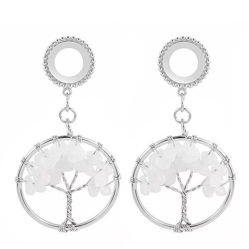Dangle Opalite tree of life  stainless steel screw back ear plugs