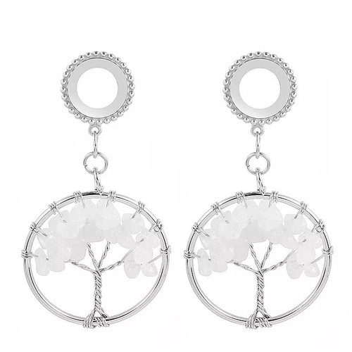 Dangle Opalite tree of life  stainless steel screw back ear plugs