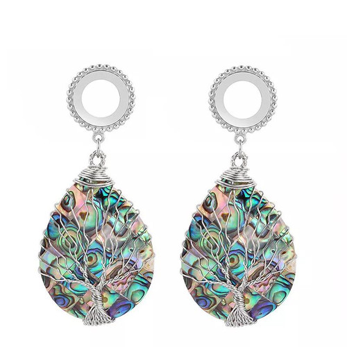 Dangle Oval Abalone Tree of life stainless steel screw back ear plugs