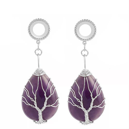 Dangle Oval Purple Amethyst Tree of life stainless steel screw back ear plugs