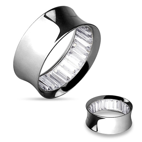 Silver Stainless Steel clear Square Stones Inside Double Flared Tunnels