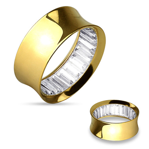 Gold IP over Stainless Steel clear Square Stones Inside Double Flared Tunnels