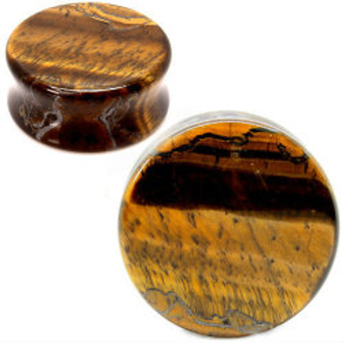 tigers eye organic stone ear gauges . Double saddle ear plugs