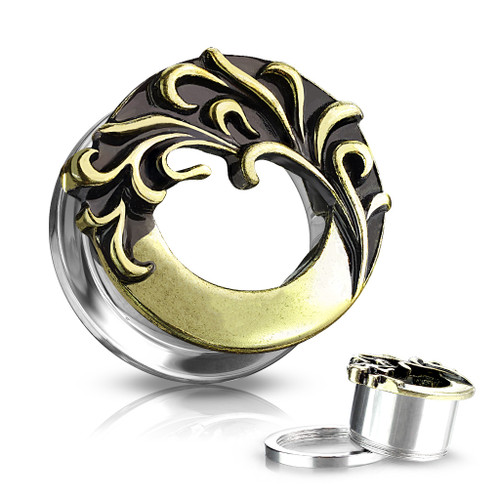 Tribal Wave Front 316L Surgical Steel Screw Fit Flesh Tunnel Plugs