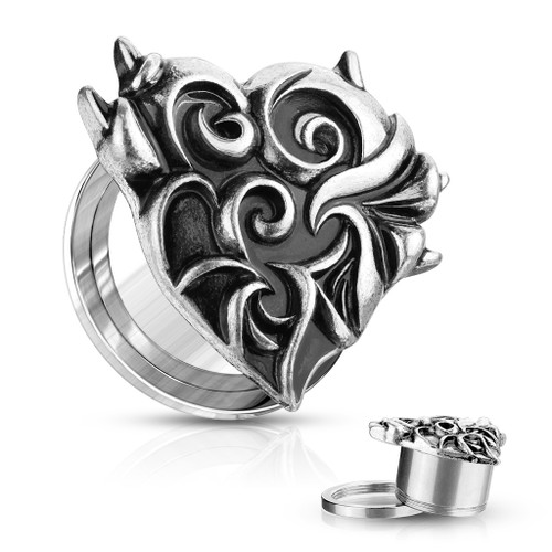 Silver Plated Devil Heart Front 316L Surgical Steel Screw Fit Flesh Tunnel Plugs