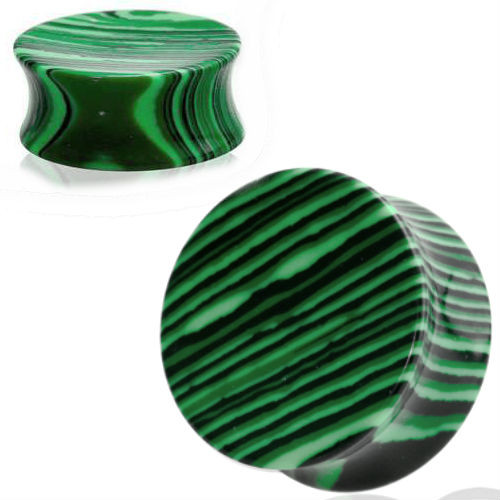 Concave green Malachite Stone Ear plugs