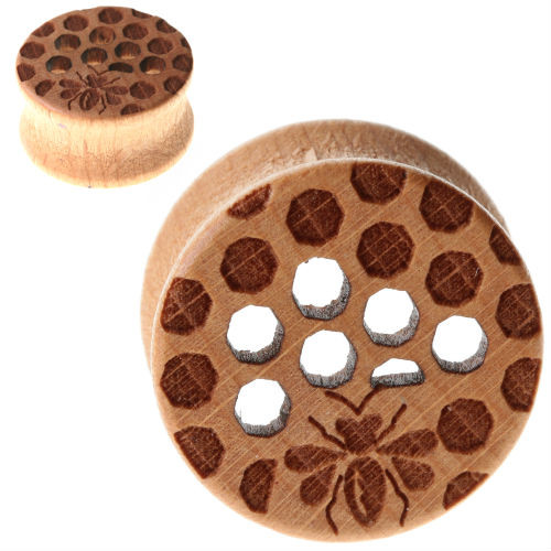Wood Honeycomb with Bee organic Double Saddle Ear Plugs