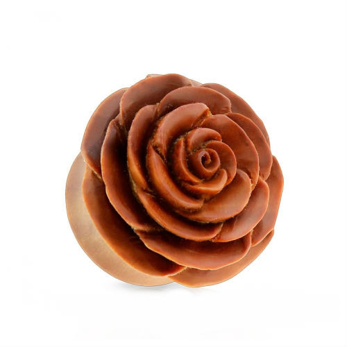 Rose in bloom hand carved Saba Wood double saddle ear plugs