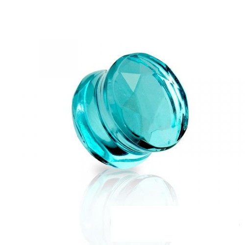 Faceted glass Teal Double Flared Saddle Tunnel