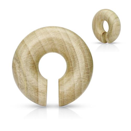Round hangers Organic Crocodile Wood Round Ear Spiral Taper