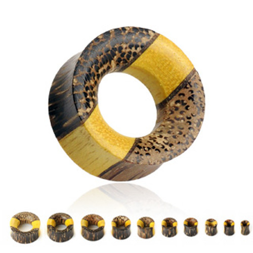 Triple Layered Wooden Tunnel Saddle Fit Organic Plug (Tewel Wood, Fruit Wood, and Coconut Wood)