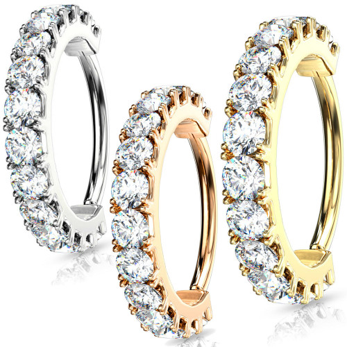 CZ Line 1.4 wide helix Hoop Cartilage ring rook tragus daith piercing 316L Surgical Steel
