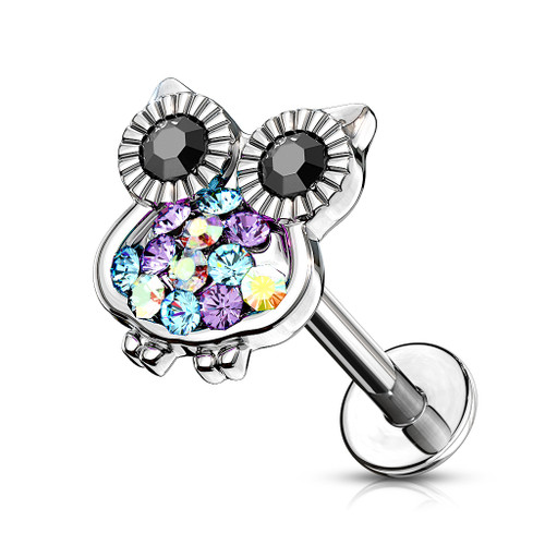 Cute owl medusa Labret Stud Helix Tragus Cartilage 16 gauge