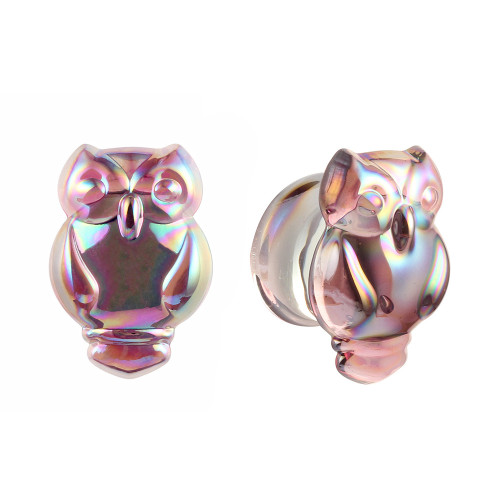Owl  Lavender clear Iridescent Glass Double Flare Ear Plugs