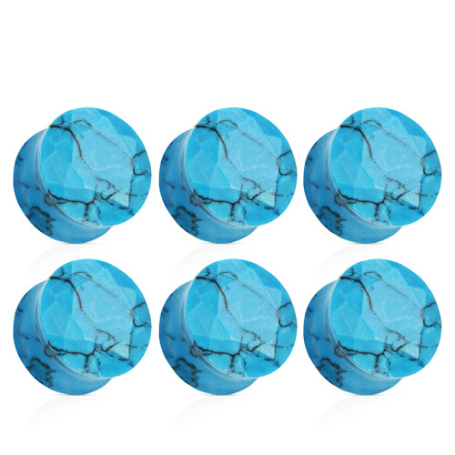 Faceted face Turquoise  Double saddle Stone Ear Plugs