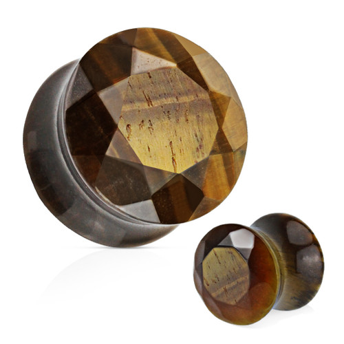 Faceted face Tigers eye  Double saddle Stone Ear Plugs