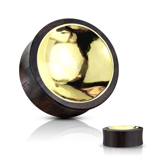 Organic Sono Wood Saddle Plug with Concave Gold tin Center on Both Sides