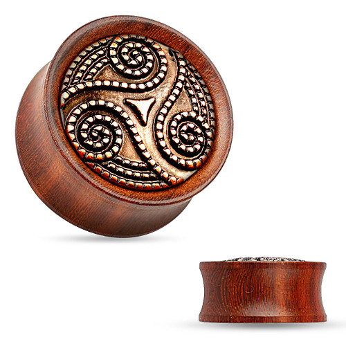 Dotted Tribal Swirl Rose Wood Saddle Fit Double Flared Plug