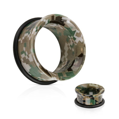 Camouflage Printed Acrylic Single Flared Tunnel with O-Ring