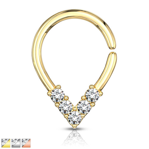 Pear Shaped Bendable 5 CZ Lined  Cut Ring for Cartilage, Tragus, Septum, and More