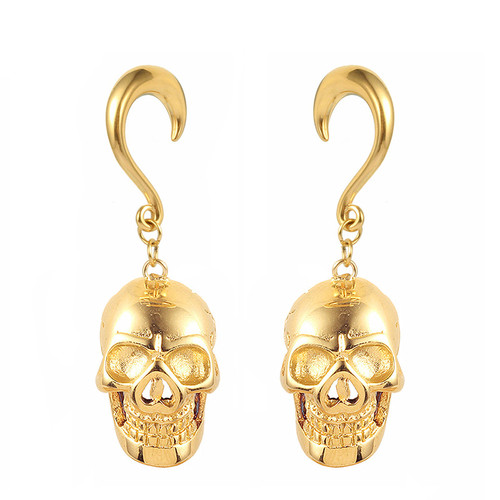 Gold weighted skull hook hangers surgical steel