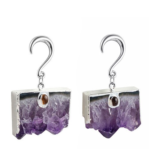 Purple Amethyst  slab silver weighted hangers surgical steel