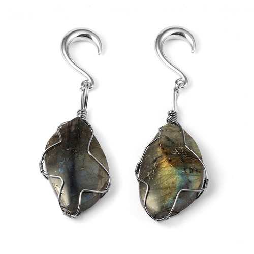 Labradorite silver weighted hangers surgical steel