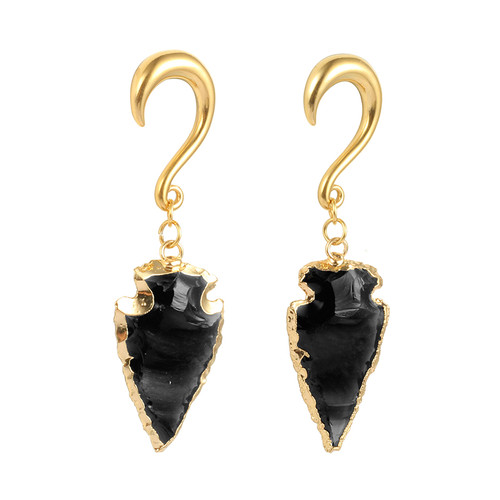 Gold with black obsidian arrow head hook weighted hangers