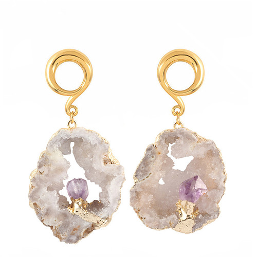 gold Large white raw druzy Amethyst accent weighted spiral hook hangers surgical steel