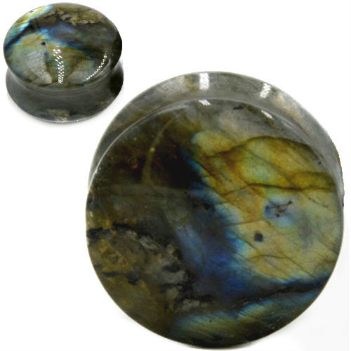 Labradorite round double saddle ear plugs organic stone