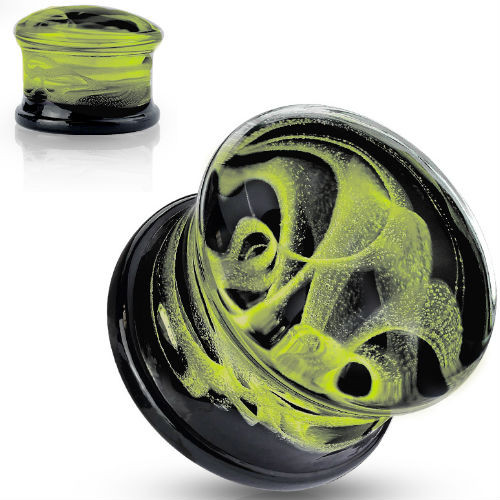 Yellow Swirling Smoke Glass Double Flare Plugs Black back