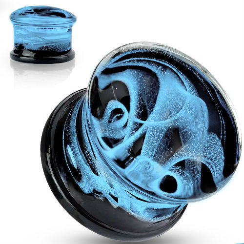 Blue Swirling Smoke Glass Double Flare Plugs Black back