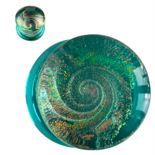 Teal Color Sparkle Galaxy Double Flared Glass Plugs