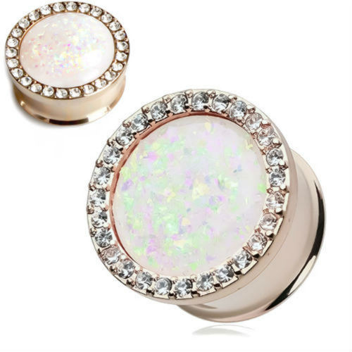 Rose Gold Opal Center Double saddle ear plugs with multi clear cz gem rim