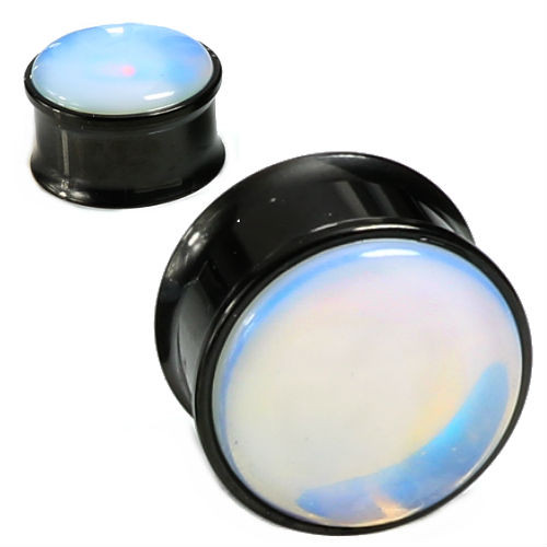 sold in pairs Black Steel Opalite Stone Front Double Saddle Plugs