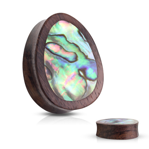 Tear Drop Abalone Inlaid Organic Sono Wood Saddle Plugs