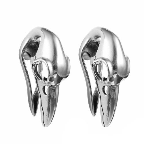 silver stainless steel raven skull hangers